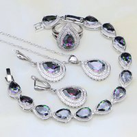 Rainbow Mystic Fire Cubic Zirconia White CZ 925 Sterling Sil...