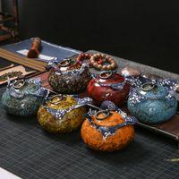 Fishion Le plus ancien art chinois Fambe Boîte à thé en céramique bonbons sel Assaisonnement Snacks Conteneur thé Culture Qualité stockage Bouteilles Jars