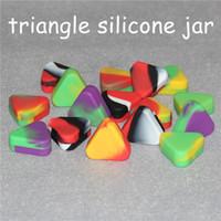 도매 붙지 삼각형 실리콘 왁스 컨테이너 박스 1.5 ㎖ 실리콘 항아리 드라이 허브 왁스 상자 컨테이너 살짝 적셔 삼각형 실리콘 항아리