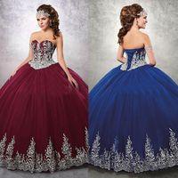 연인 Neckline Appliques Gown Burgundy Ball Gown Quinceanera 드레스 재킷 얇은 명주 그물 레이스 업 백 달콤한 16 드레스