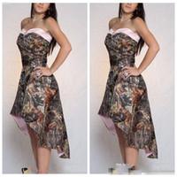 2021 라인 하이 낮은 카모 신부 들러리 드레스 짧은 사용자 정의 정식 Vestidos 드 신부 들러리 저렴한 온라인 위장 하녀 명예
