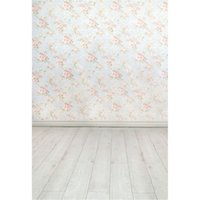 Blumendamast-Wand-Foto-Hintergrund druckte hellrosa Blumen-Baby-neugeborene Fotografie-Requisiten-Kinder-Kinder-Studio-Hintergrund-Holzfußboden