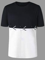 2018 Sommer neue Mode Farbe Block Lace Up T-Shirt Rundhalsausschnitt Kurzarm T Männer T Shirt Casual T-Shirt Männer Kleidung M-2XL