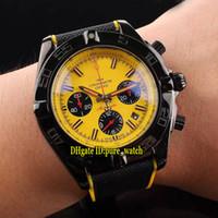 새로운 44mm PVD 블랙 MB0111C3 Yellow 다이얼 쿼츠 크로노 그래프 망 시계 나일론 / 고무 스트랩 고품질의 체계 스포츠 시계