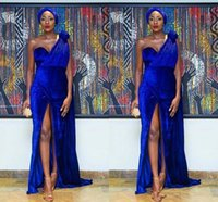 Royal blue 2018 Elegant One Shoulder Velvet Mermaid Nigeria ...