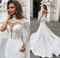 Gorgeous Mermaid Lace Wedding Dresses With Cape Sheer Sweeth...