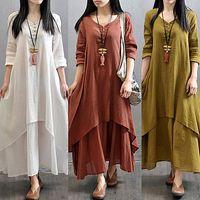 Mujeres campesinas étnicas boho algodón lino manga larga vestido maxi gypsy blusa falso dos piezas botón con cuello en v boho vestidos largos largos