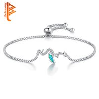 BELAWANG 2018 Luxury Blue Opal Bracelets For Women Crane Cha...