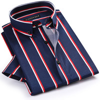 GREVOL New Summer Fashion  100% Cotton Smart Casual Men Shirts Men's Short Sleeve Thick Vertical Striped Shirt