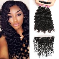 Brazilian Deep Wave Bundles with 13*4 Ear to Ear Lace Fronta...