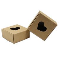 20pcs coeur marron creux kraft papier emballage boîte cadeau souvenir bricolage bijoux boîte pour faveurs de mariage sac de garçon d'anniversaire