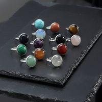 10 мм 12 мм натуральный камень кольцо белый синий бирюзовый опал розовый кристалл чакра открытое кольцо для женщин ювелирные изделия