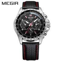 MEGIR Sport Montres Hommes Top Quartz Montre Homme Mode Casual Noir PU Starp Horloge Hommes grand cadran Erkek Saat 1010
