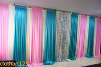 3m*6m wedding backdrop with colors swags Party background Cu...