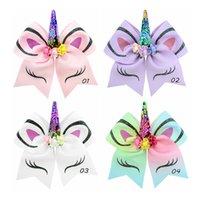 EMS Fast Ship princesa Menina Unicorn elogio Bow Com Ponyrtail Titular Hairbands fita com Clipe Tecido Cheerleading Arcos menina Hairbands H63