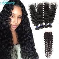 Deep wave Brazilian Human Hair Extensions 4 Bundles With Clo...