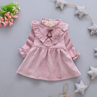 New Autumn Girls Long Sleeves Dress Fashion Bowknot Baby Pri...