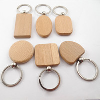 Simple Style Wood Key Chains Key Rings DIY Wood Round Square...