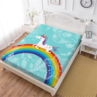 Cartoon Unicorn Bed Sheet Colorful Rainbow Print Fitted Shee...