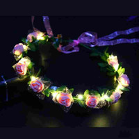 LED Glow Rose Crown Headbands Light Party Rave Floral pelo Guirnalda Guirnalda boda Flower Girl Headpiece Decoración Intermitente