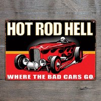 Hot Rod Hell Where the Bad Car Go Retro Metal Sign Vintage C...