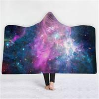 Moda con capucha Manta cielo estrellado Impreso Mantas de Invierno Sofá cama usable suave paño grueso y suave caliente Tela manta del tiro Textiles para el hogar