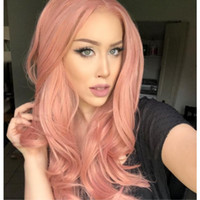 Free Shipping Hot Sexy Long Wavy Peach Pink Synthetic Lace F...