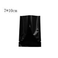 7 * 10 cm Siyah Geri Dönüşümlü Ambalaj Çanta Isı Sızdırmazlık Açık Üst Alüminyum Folyo Vakum Paket Torbalar Düz Mylar Paketi Çanta 200 Adet / grup