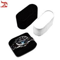Оптовая 10шт / Lot Velvet браслет Подушка наручные часы браслет держателя стойки дисплея Черный Белый корпус часов хранения Часы Подушка