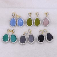 5 Pairs Silver Rhinestone Faceted Natural Stone Drop Dangle ...