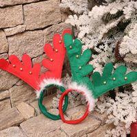 크리스마스 장식 크리스마스 뿔 머리 밴드 빨간색 비 짠 머리띠 휴일 파티 생일 파티 용품 어린이와 소녀를위한
