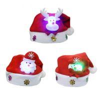 Cappello di Natale per bambini non tessuto con luce a Led Applique Babbo Natale cervi modello neve cappelli cappello Natale forniture