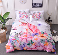 3D Cartoon Bedding Set Unicorn Floral Bed Cover Pink White D...