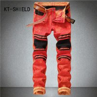 skinny jeans men Slim straight With zipper Casual pants homb...