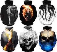 NWT Men Winter Autumn Hoodies Wiht Hat Pocket 3D Skulls Prin...