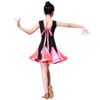 vestito da ballo latino per la concorrenza della ragazza sala da ballo latino salsa vestito bambini ragazza rumba samba spandex bambini gonna costume tango