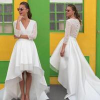 2019 Fashion High Low Brautkleider V-Ausschnitt Illusion Spitze mit langen Ärmeln Satin Hallo Lo Brautkleider hohe Qualität