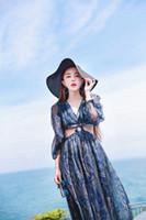 Nuevo diseño de moda de las mujeres con cuello en v sexy cintura ahueca hacia fuera la nación étnica impresión floral playa retro vacaciones de manga larga gasa vestido largo