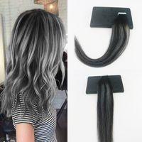 Ombre Bande Dans Extensions de Cheveux Humain 100G Vierge Brésilienne Droite Remy Cheveux 40Pièce PU Peau Trame Tape Cheveux Balayage couleur # 1B / Argent / 1B