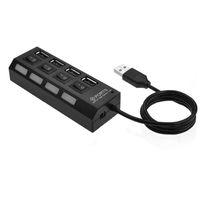 Mini 2.0 Hub 4 Ports Portable USB haute vitesse 480 Mbps Interrupteur On / Off USB Splitter Adaptateur HUB