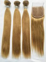 Capelli biondi brasiliani 3 pacchi con chiusura in pizzo colorato 27 # estensioni del tessuto dei capelli umani remy brasiliani con chiusura