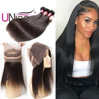 UNice Hair 360 Lace Frontal With Bundles Brazilian Indian 8A...