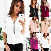 Women Casual Tops New Loose Fashion Blouse Cotton Three Quar...