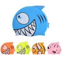 Nuevos niños de dibujos animados natación casquillo de buceo de silicona a prueba de agua sombrero de la nadada Niños niña niño favor de casquillo de baño con los peces patrón de tiburón