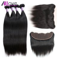 8A Brazilian Straight Hair 4pcs With Frontal Closure Cheap P...