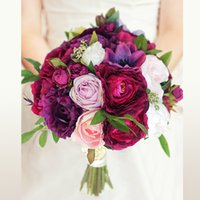 Customized wedding simulation bouquet wine red deep purple p...