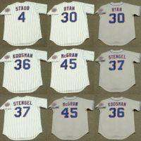 Homens 4 Rusty StAub 30 Nolan Ryan 37 Casey Stengel 45 Tug McGraw 24 Willie Mays 36 Jerry Koosman Baseball Jersey 1986