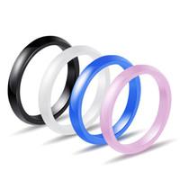 3MM 간단한 커플 도자기 반지 여성 블랙 핑크 화이트 블루 컬러 결혼 약혼녀 반지 남자 패션 쥬얼리