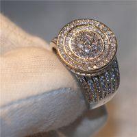 Profesional entero y al por menor de lujo anillo de bodas de diamante de calidad superior cubic zirconia 925 joyería de plata esterlina de moda para mujeres