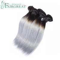 Fairgreat Ombre human hair weave Straight 1B&Sliver Grey two...